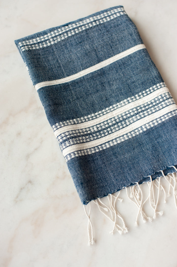 Aden Cotton Hand Towel - Navy/Natural