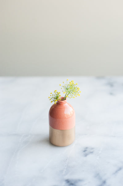 Gold-Dipped Coral Bud Vase