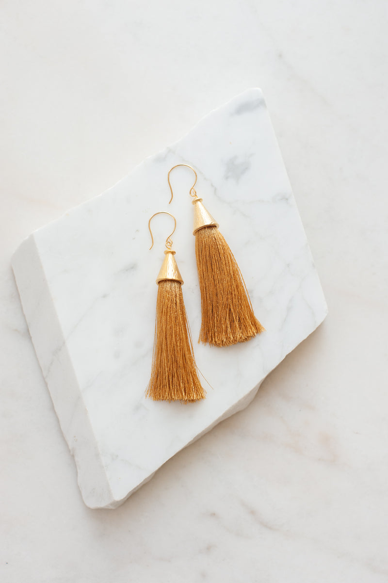 Dutch + Bow Rust Tassel Earrings