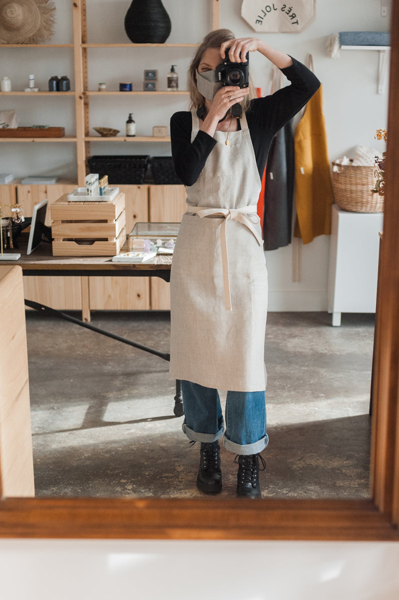 Full Linen Apron - Natural