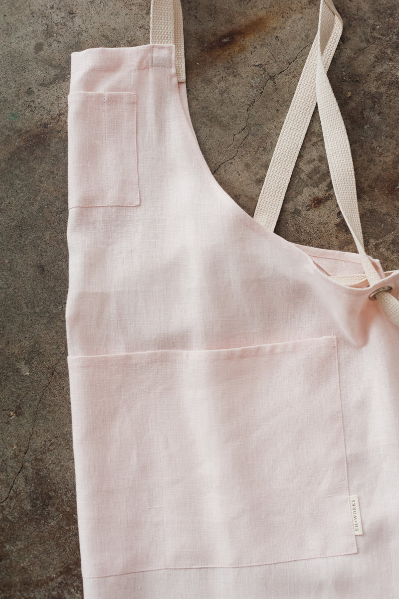 Full Linen Apron - Palest Pink