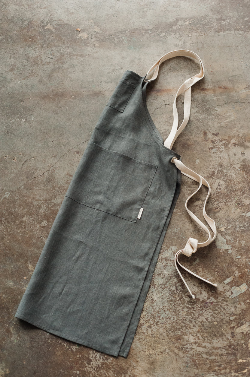 Full Linen Apron - Graphite