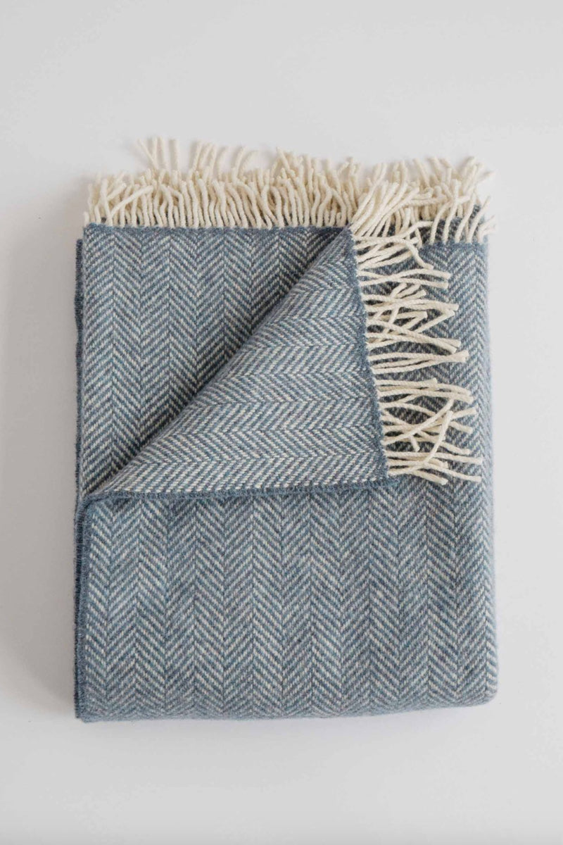Merino Cashmere Herringbone Throw - Twilight