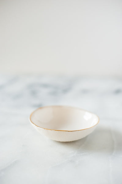 Textured Bowl With Gold Rim