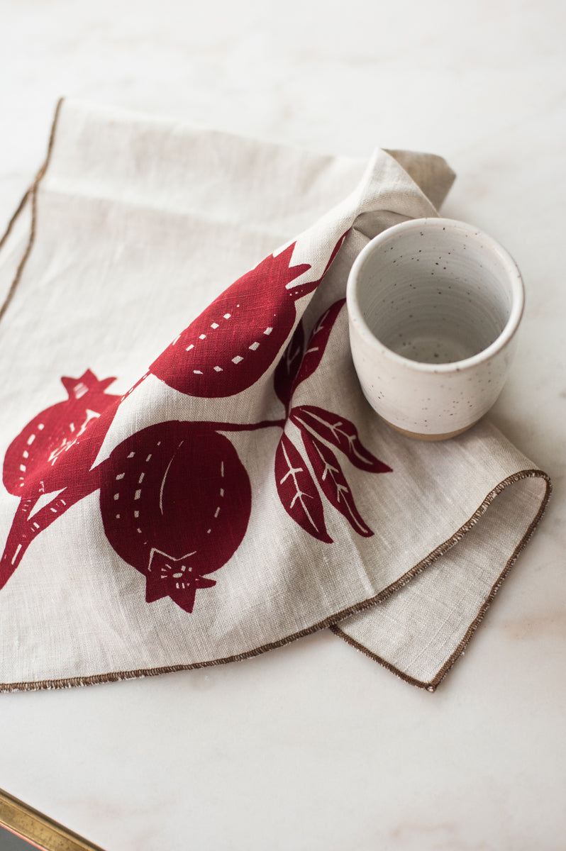 Pomegranate Linen Tea Towel