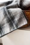 Twin Merino Wool Blanket - Fog Plaid