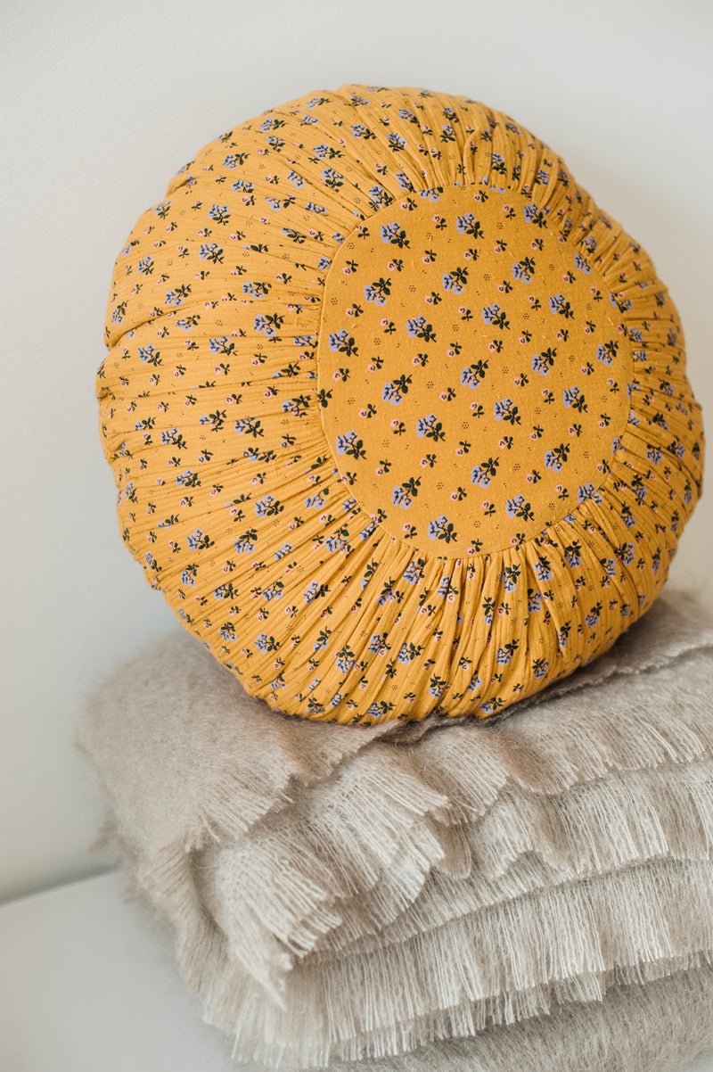 Round Floral Pillow - Mustard