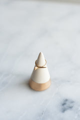 Minimalist Ring Holder - White & Gold