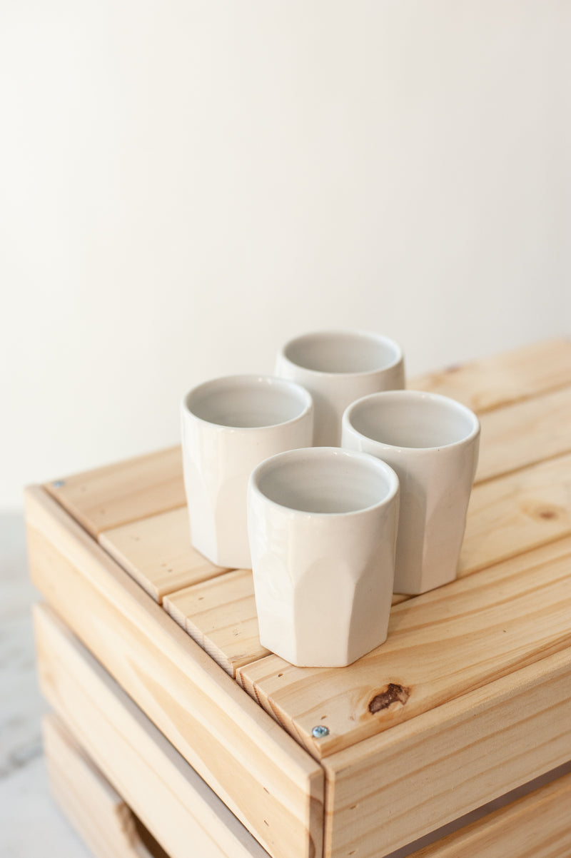 Farmhouse Faceted Tumbler - Classic White