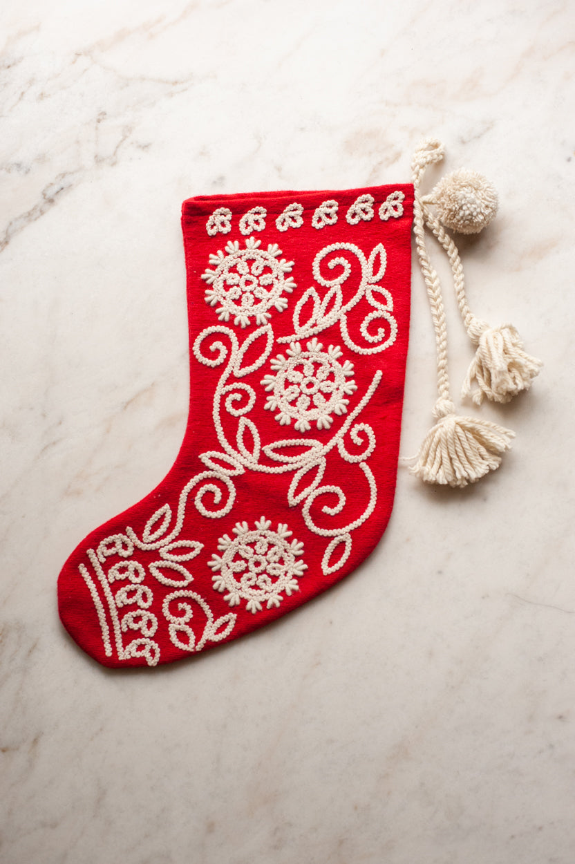 Embroidered Wool Christmas Stocking - Red