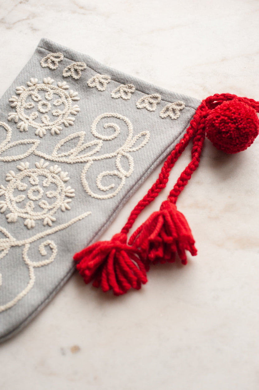 Embroidered Wool Christmas Stocking - Grey