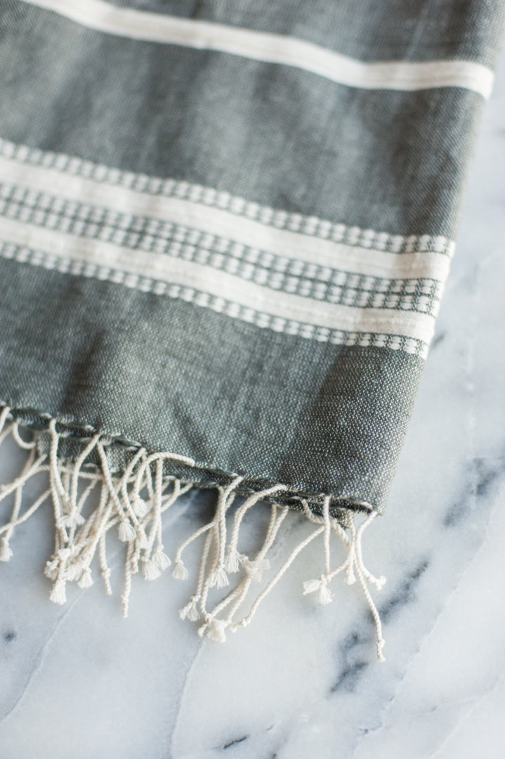 Aden Cotton Hand Towel - Grey/Natural
