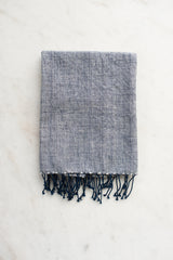 Fringed Navy Hand Towel