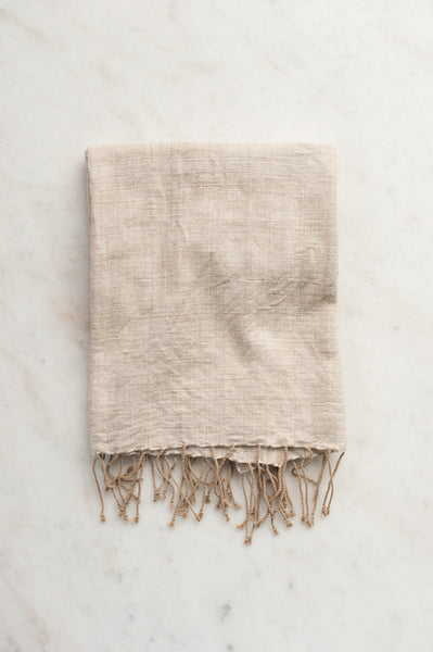 Fringed Beige Hand Towel