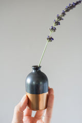 Gold-Dipped Black Bud Vase