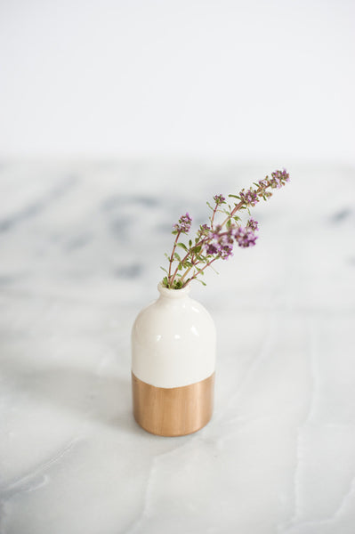 Gold-Dipped White Bud Vase