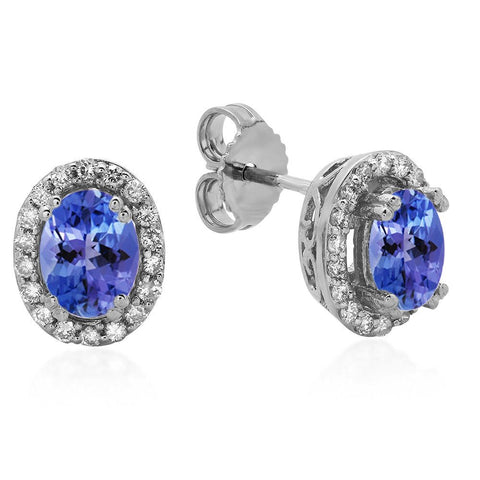 PMI 14W@2.0 36RD1@0.24 2TANZ@0.83 TANZANITE EARRINGS