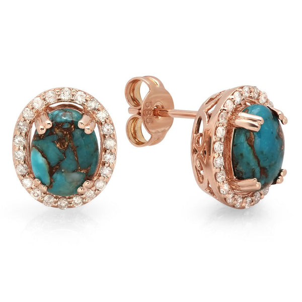 PMI 14P@2.7 44RD3@0.28 2CTRQ@2.03 COPPER TURQUOISE EARRINGS