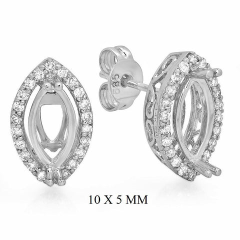 PMI 14W@2.4 44RD2@0.29 (10x5MM) MARQUISE HALO EARRINGS
