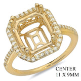 PMI 14W@3.70 48RD1@0.30 11X9MM EMERALD CUT HALO