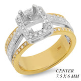 PMI 14WY@7.8 PAVE 64RD1+@0.32 20PC@0.56 7.5X6MM CUSHION EMERALD TWO TONE