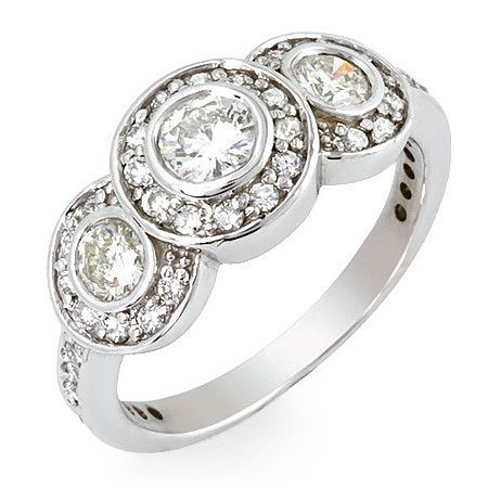 PMI 14W@4.3 45RD2@0.93 THREE STONE BEZEL SET RING