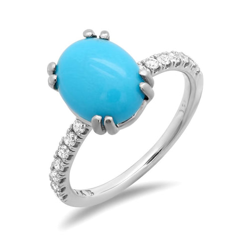 PMI 14W@2.4 14RD1@0.25 1TRQ@2.21 10X8MM TURQUOISE RING