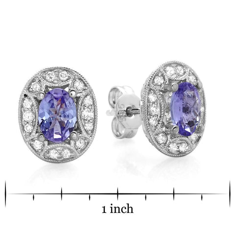 PMI 14W@3.1 56RD3@0.46 2TANZ@1.20 TANZANITE EARRINGS