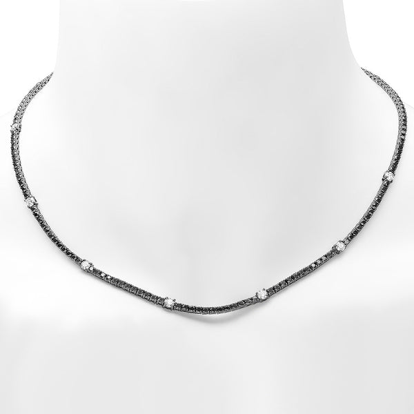 PMI 18W@15.90 164BLK@7.52 7RD1@1.02 BLACK DIAMOND TENNIS NECKLACE