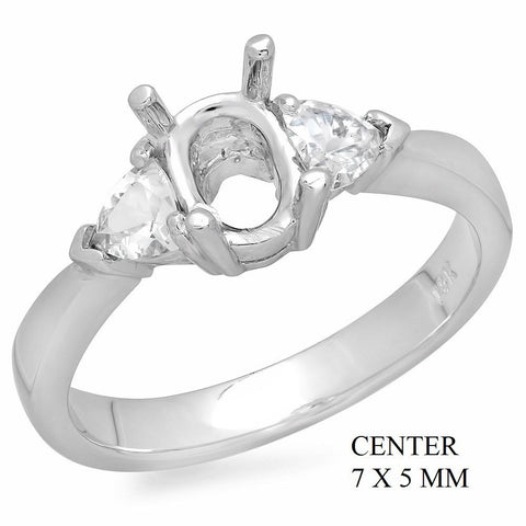 PMI 14W@3.60 2WSAP@0.47 7X5MM OVAL 3-STONE RING