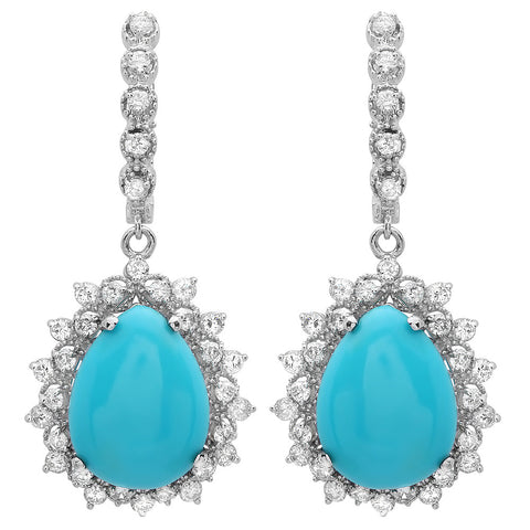 PMI 14W@8.8 66RD@1.88 2TQ@11.07 TURQUOISE EARRINGS