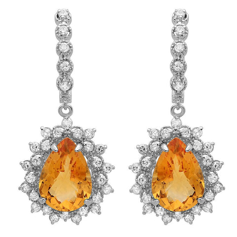 PMI 14W@10.1 62RD1@1.61 2CT@9.78 CITRINE EARRINGS