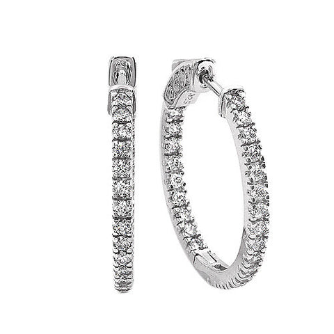 PMI 14W@6.1 50RD2@1.00 1INCH INSIDE OUTSIDE EARRING FOUR PRONG SETTING