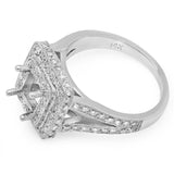 PMI 14W@7.2 PAVE' SET 87RD1@0.87 5.5MM PRINCESS DOUBLE HALO SPLIT SHANK