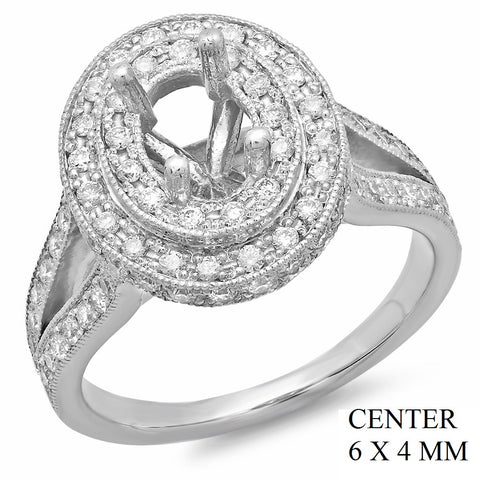 PMI 14W@6.2 PAVE' SET 85RD1@1.01 6X4MM OVAL SPLIT SHANK HALO