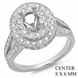 PMI 14W@7.2 PAVE' SET 97RD1@1.21 8X6MM OVAL SPLIT SHANK HALO