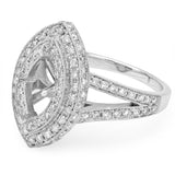 PMI 14W@7.2 PAVE' SET 100RD1@0.96 11X7MM MARQUISE DOUBLE HALO SPLIT SHANK