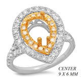 PMI 14YW@5.4 68RD1@0.62 9X6MM PEAR SHAPE TWO-TONE DOUBLE HALO SPLIT SHANK