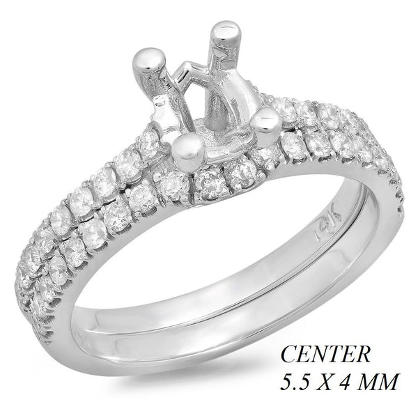 PMI 14W@4.3 38RD2@0.58 SET 5.5X4MM OVAL WEDDING SET