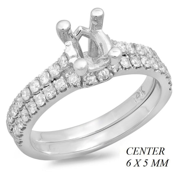 PMI 14W@4.3 38RD2@0.58 SET OVAL 6X5MM WEDDING SET