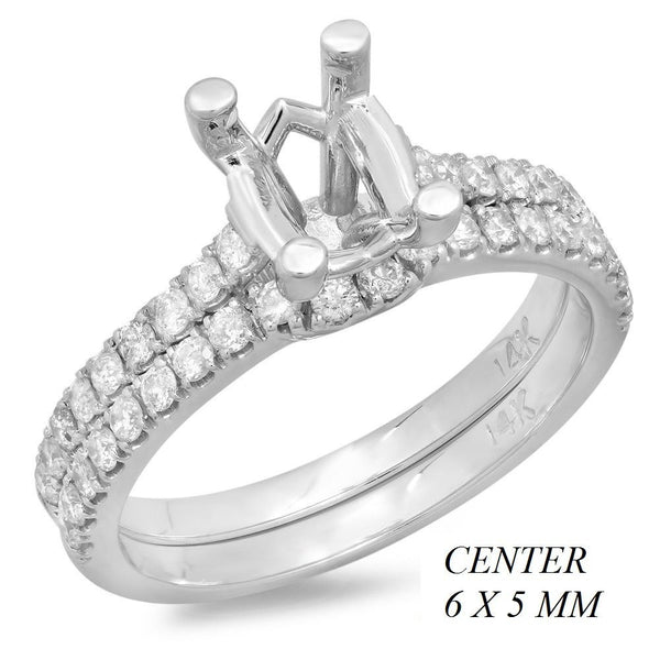 PMI 14W@4.2 38RD2@0.55 SET 6X5MM OVAL WEDDING SET