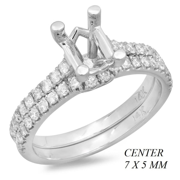 PMI 14W@4.2 38RD2@0.55 7X5MM OVAL WEDDING SET