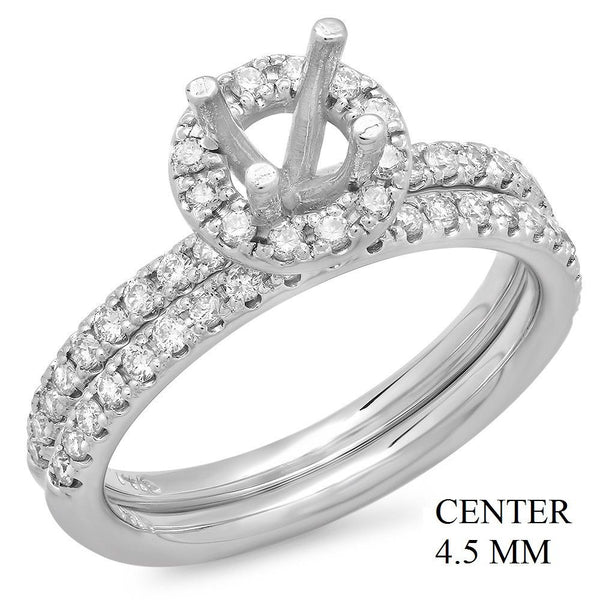 PMI 14W@5.2 51RD1@0.52 SET 4.5MM ROUND HALO WEDDING SET
