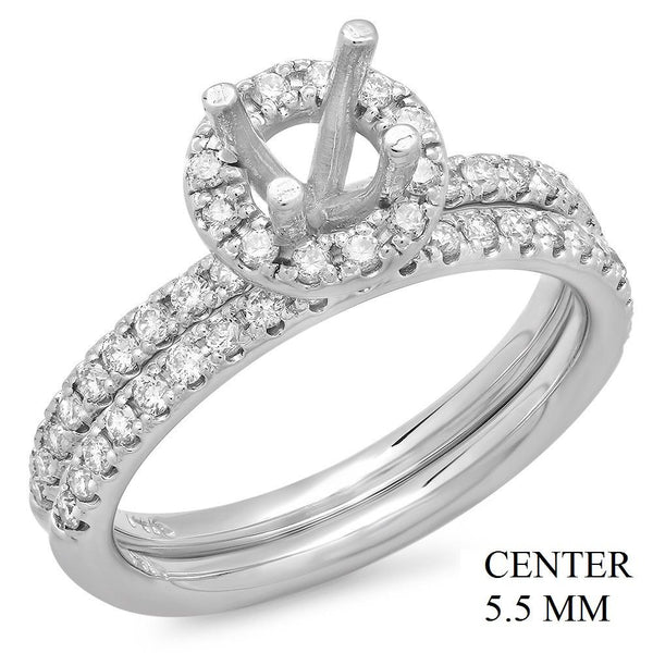 PMI 14W@5.2 52RD1@0.53 SET 5.5MM ROUND HALO WEDDING SET