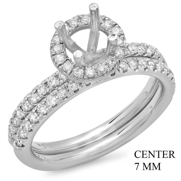 PMI 14W@5.4 57RD1@0.67 SET 7MM ROUND HALO WEDDING SET