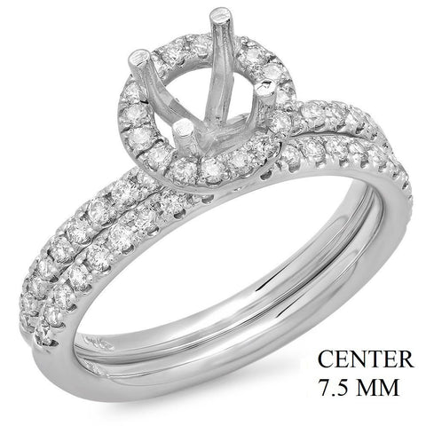PMI 14W@4.3 57RD1@0.68 SET 7.5MM ROUND HALO WEDDING SET