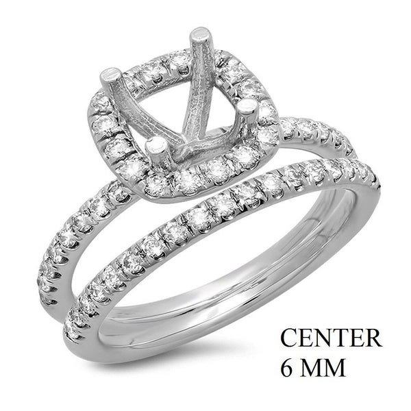 PMI 14W@5.4 55RD1@0.63 6MM CUSHION HALO WEDDING SET
