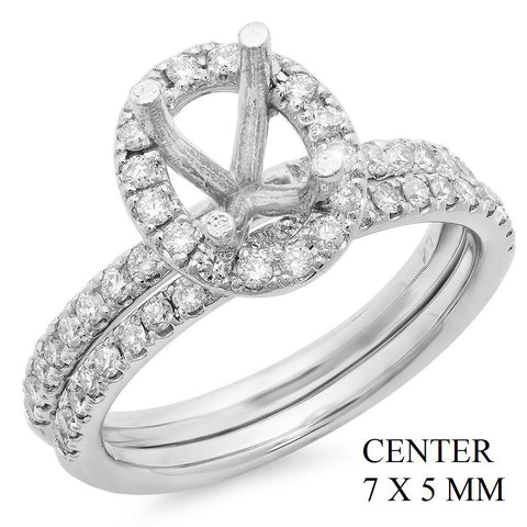 PMI 14W@5.5 53RD1@0.57 7X5MM OVAL HALO WEDDING SET