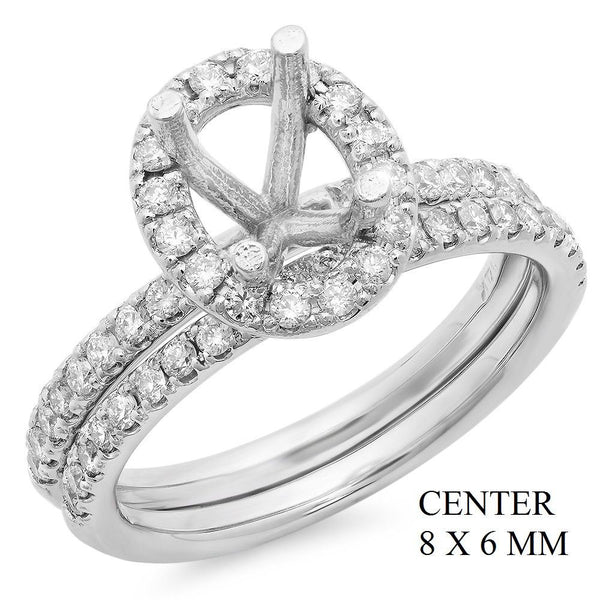 PMI 14W@5.5 55RD1@0.63 SET 8X6MM OVAL HALO WEDDING SET