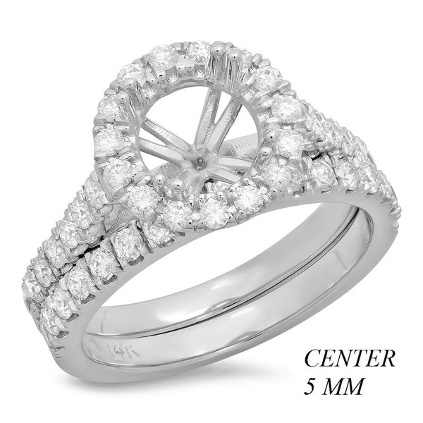 PMI 14W@5.8 42RD1@0.87 5MM SET ROUND CATHEDRAL HALO WEDDING SET